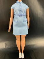 Career Barbie Doll Denim Dress with Waist Belt Curvy Fashionista Lot Of 3 Items