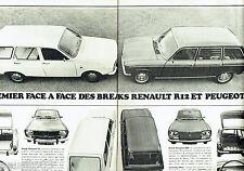 PUBLICITE ADVERTISING 106  1970   Renault 12 break & Peugeot 304 break (2p)