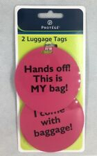 Protege Luggage Tags I come with baggage Set of 2 With Rubberized Strap NEW