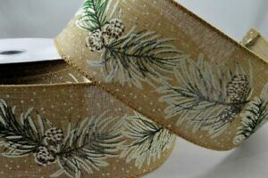 1 metre  - 63mm wide BURLAP RUSTIC WINTER NATURAL PINE CONE WIRE EDGED RIBBON