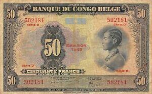 Belgian Congo  50  Francs 1945  P 16c  Series  D  Circulated Banknote
