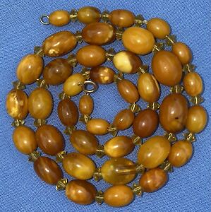 Beautiful Antique butterscotch Egg Yolk amber Bead necklace 20.5 Inches Long