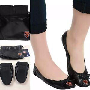 NFL Chicago Bears Logo Womens Black Foldable Slip On Flats Shoes w/Clutch
