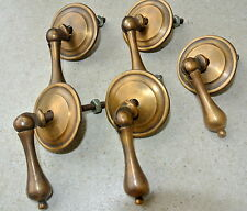 """5 small knob pulls handles brass door old vintage antique style drops knobs 2"""" B"""