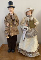 """Christmas vintage carolers lot of 2 old fashioned couple singing Carol's 19"""""""