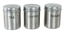 Set of 3 Stainless Steel Buckingham TEA/COFFEE/SUGAR Storage Canisters MATT