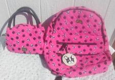 NWT Betsey Johnson Fushia Quilted Dog Backpack & Mini Satchel Lunch Tote- Set