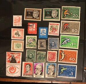 URUGUAY postage stamps lot of 24 1964 Olympics Jartigas Kennedy fireman