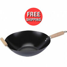 Nonstick Wok Pan 13 Inches Stir Fry Steam Sear Carbon Steel Chinese Food Cooking