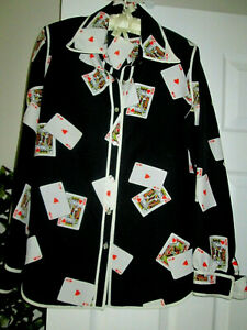 Vintage 80's playing cards SHIRT Black poker king card deck button down top M