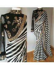 Sari Indian Bollywood Zebra Designer Partywear Georgette Embroidery Border Saree