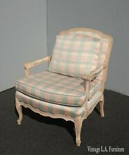 Vintage French Country Sam Moore Blue & Pink Plaid Accent Arm Chair Feathers