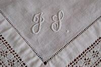 "ANTIQUE/VINTAGE TABLE TOPPER TABLE CENTRE TRAYCLOTH Embroidered Monogram ""JJ"""