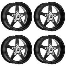 2 Front 17x4.5 2 Rear 15x10 Vision 571 Sport Star II Black Wheels 5x4.75