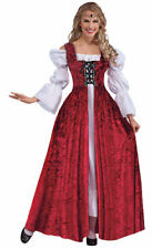 LADIES MEDIEVAL TUDOR RED WHITE GOWN & CHEMISE FANCY DRESS COSTUME NEW 14-16