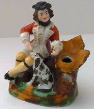 Antique Staffordshire Pottery 1800s Soldier Gentleman with Dog Inkwell Pen Hlder
