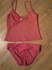 Perry Ellis Women's Red Spaghetti Strap Triangle Shape Top Tankini Set- Size Med