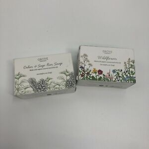 GROVE Cedar & Sage Bar Soap & Wildflower 4 oz(2PK)Organic Coconut and Olive Oils