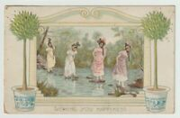 1912 Postmarked Postcard Wishing You Happiness 4 Girls on stones in a creek