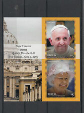 Bequia Grenadines St Vincent 2014 MNH Pope Francis Queen Elizabeth II 2v S/S II