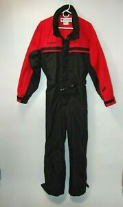 Vintage Columbia Men's Ski Snow Outfit One-Piece Red & Black Size S 1990's