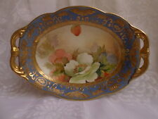 ANTIQUE HAND PAINTED NIPPON MORIMURA HANDLED FLORAL HANDLED BOWL GOLD BEADING