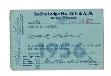 1956  Racine WI Masonic Lodge  Membership Card