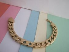MENS HEAVY CURB   CHAIN BRACELET GOLD   METAL   SIZE 8.5.in Width 12 mm