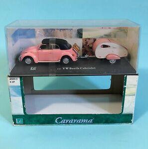 CARARAMA 1/43 Scale PINK VW BEETLE CABRIOLET with TRAVEL TRAILER / CARAVAN - NIB