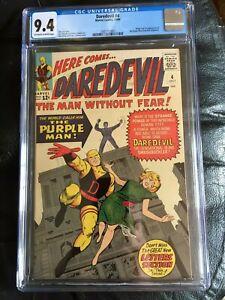 DAREDEVIL #4 CGC NM 9.4; OW-W;  origin & 1st app. Purple Man!