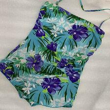16 Gabar Aqua Purple Tropical Floral Bandeau Sarong One Piece Swimsuit Floral