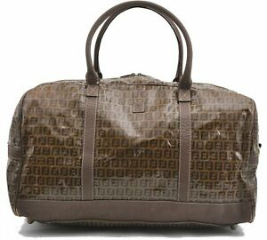 Authentic FENDI Zucchino Travel Bag Vinyl Leather Beige A6706
