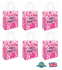 6 x HEN PARTY BAG Printed Paper Bag WEDDING Gift Bag Hen Night Bags (C51 395)