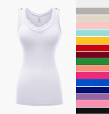 Women's V-Neck Tank Top Lace Trim Cotton Knit Stretch Casual Sleeveless Basic