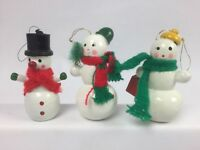"Wood Snowman Ornaments Hand Painted 3"" Christmas Tree Lot of 3 Gift"