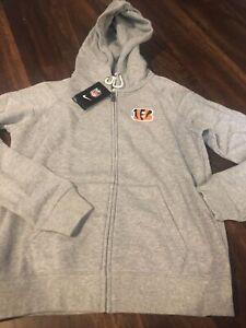 Nike Cincinnati Bengals Womens NFL Football Zip Sweatshirt Size Medium Gray