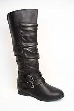 Women's Winter Low Heel  Round Toe Zipper Thigh Knee High Boots Size 6 - 11 NEW