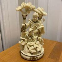 "Christmas Figurine Decoration White Porcelain Nativity Scene 7"" Gold Trim"