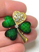 Green and Clear Crystal Shamrock 4Leaf Clover Vintage Gold Pin Brooch D-1387