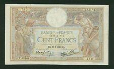 FRANCE  1939  100 FRANCS BANKNOTE, PICK#86b, VERY FINE+