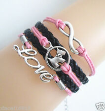 Multi-layer Infinity/Cute Dog/Love Charms Leather Braided Bracelet (Pink+Black)