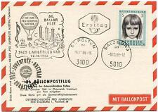 1966 Ballonpost n. 36 Pro Juventute Aerostato OE-DZB Langenlebarn St. Polten