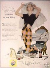 1955 Pepsi-Cola Soda-Pop Women Fashion Brides Veil Vintage Collectible Art AD