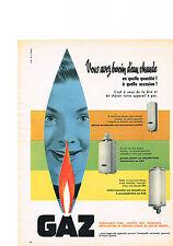 PUBLICITE ADVERTISING   1956   GAZ  CHAUFFE EAU CHAUFFE BAIN