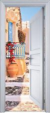 Sticker porte trompe l'oeil déco Escalier pierre 90x200 cm réf 2112