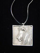 """JJ"" Jonette Jewelry Silver Pewter 'Square LION' 24"" Necklace"