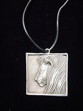 """Jj"" Jonette Jewelry Silver Pewter 'Square Lion' 24"" Necklace"
