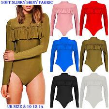 New Women Slinky Long Sleeve Turtle Neck Frill Bodysuit Soft Shiny Body Top