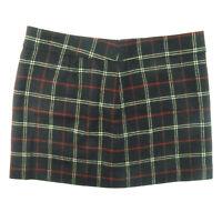 VTG J Crew Women's Tartan Plaid Wool Mini Skirt Black Red Size 14 (38x16)