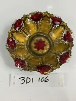 Morning Glory Goofus Glass Intaglio Red Gold Bowl Antique Flower